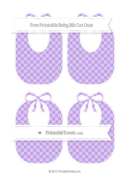 Free Pastel Purple Checker Pattern Medium Baby Bib Cut Outs