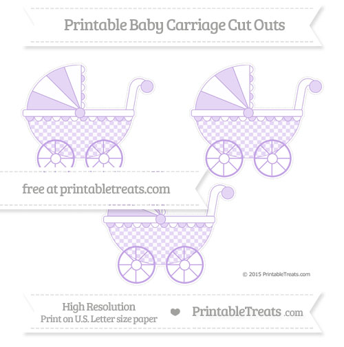 Free Pastel Purple Checker Pattern Medium Baby Carriage Cut Outs