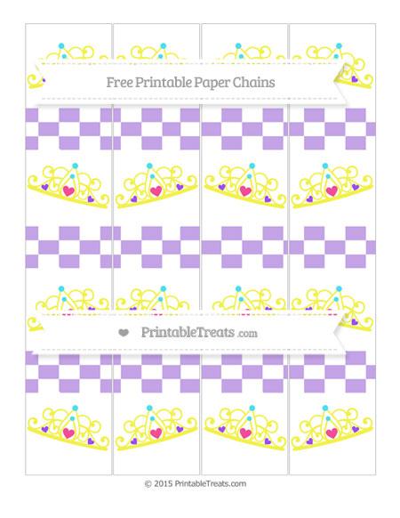 Free Pastel Purple Checker Pattern Princess Tiara Paper Chains
