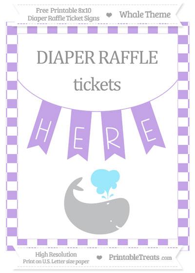 Free Pastel Purple Checker Pattern Whale 8x10 Diaper Raffle Ticket Sign