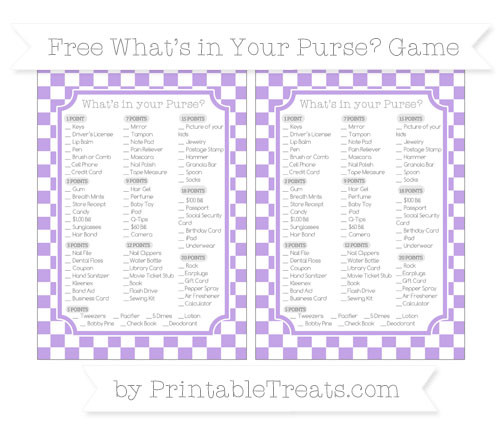 Free Pastel Purple Checker Pattern What's in Your Purse Baby Shower Game