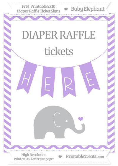 Free Pastel Purple Chevron Baby Elephant 8x10 Diaper Raffle Ticket Sign