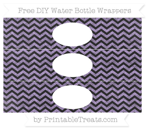 Free Pastel Purple Chevron Chalk Style DIY Water Bottle Wrappers
