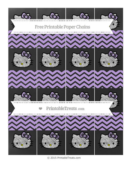 Free Pastel Purple Chevron Chalk Style Hello Kitty Paper Chains