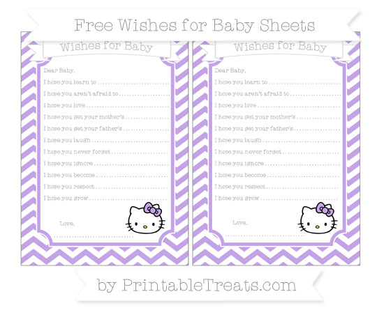 Free Pastel Purple Chevron Hello Kitty Wishes for Baby Sheets