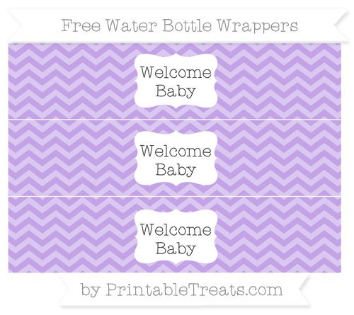 Free Pastel Purple Chevron Welcome Baby Water Bottle Wrappers
