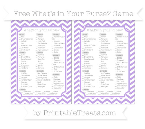 Free Pastel Purple Chevron What's in Your Purse Baby Shower Game