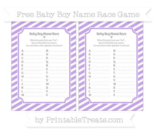 Free Pastel Purple Diagonal Striped Baby Boy Name Race Game