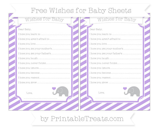 Free Pastel Purple Diagonal Striped Baby Elephant Wishes for Baby Sheets