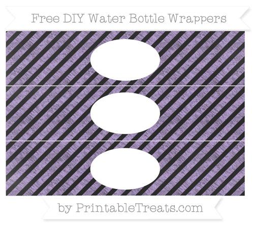 Free Pastel Purple Diagonal Striped Chalk Style DIY Water Bottle Wrappers