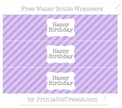 Free Pastel Purple Diagonal Striped Happy Birhtday Water Bottle Wrappers