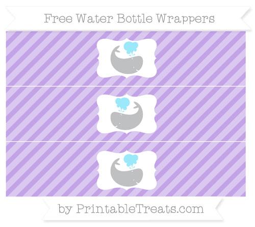Free Pastel Purple Diagonal Striped Whale Water Bottle Wrappers