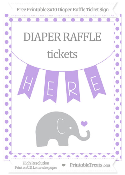 Free Pastel Purple Dotted Baby Elephant 8x10 Diaper Raffle Ticket Sign