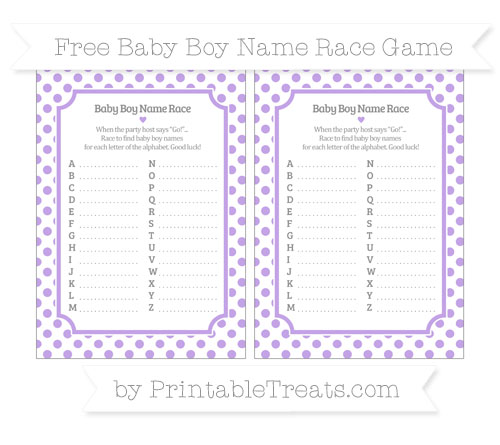 Free Pastel Purple Dotted Pattern Baby Boy Name Race Game