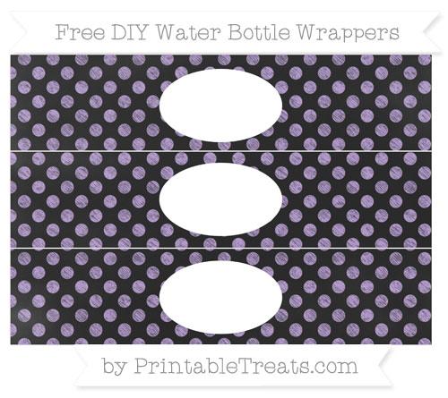 Free Pastel Purple Dotted Pattern Chalk Style DIY Water Bottle Wrappers