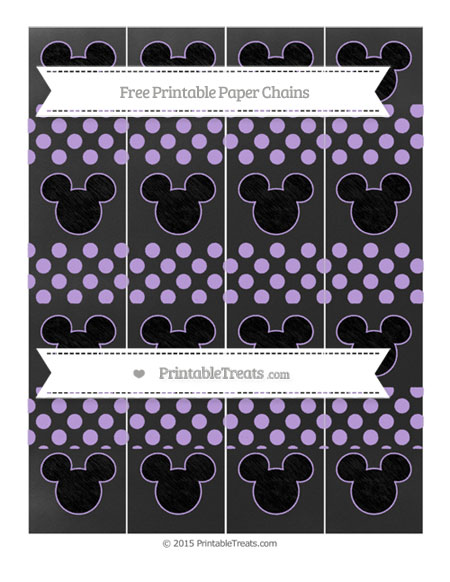 Free Pastel Purple Dotted Pattern Chalk Style Mickey Mouse Paper Chains
