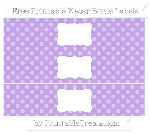 Free Pastel Purple Dotted Pattern Water Bottle Labels