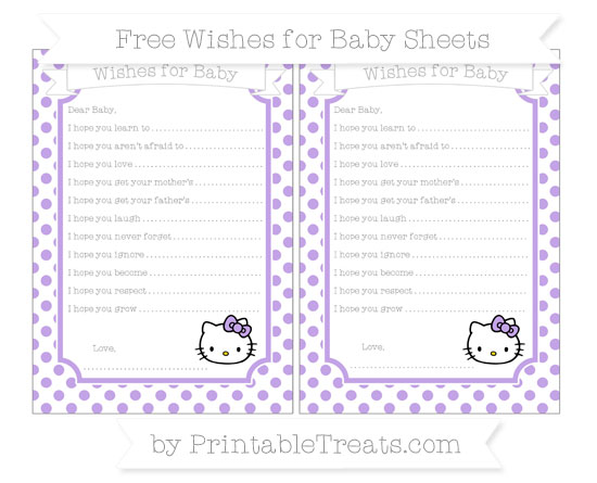 Free Pastel Purple Dotted Pattern Hello Kitty Wishes for Baby Sheets