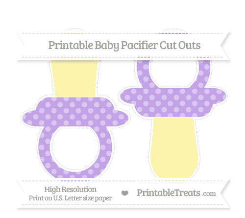 Free Pastel Purple Dotted Pattern Large Baby Pacifier Cut Outs