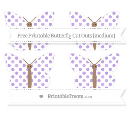 Free Pastel Purple Dotted Pattern Medium Butterfly Cut Outs