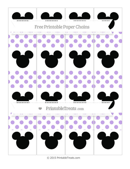 Free Pastel Purple Dotted Pattern Mickey Mouse Paper Chains