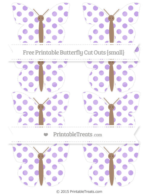 Free Pastel Purple Dotted Pattern Small Butterfly Cut Outs