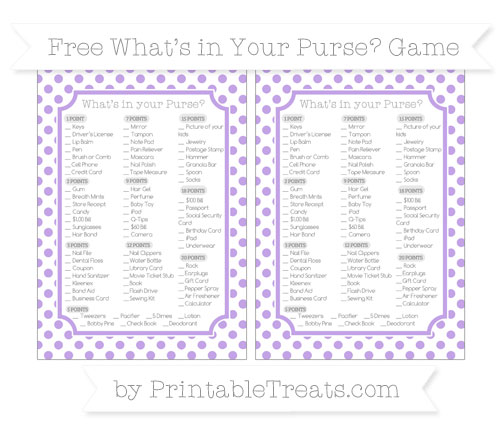 Free Pastel Purple Dotted Pattern What's in Your Purse Baby Shower Game