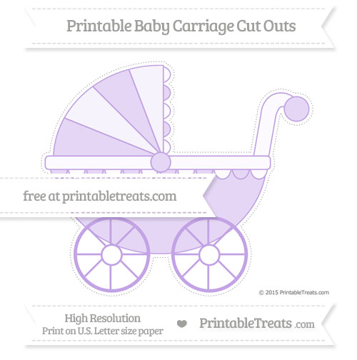 Free Pastel Purple Extra Large Baby Carriage Cut Outs