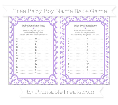 Free Pastel Purple Fish Scale Pattern Baby Boy Name Race Game