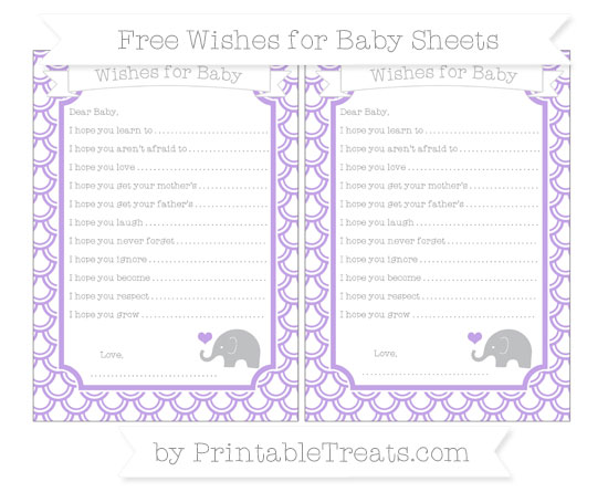 Free Pastel Purple Fish Scale Pattern Baby Elephant Wishes for Baby Sheets