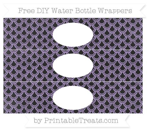 Free Pastel Purple Fish Scale Pattern Chalk Style DIY Water Bottle Wrappers