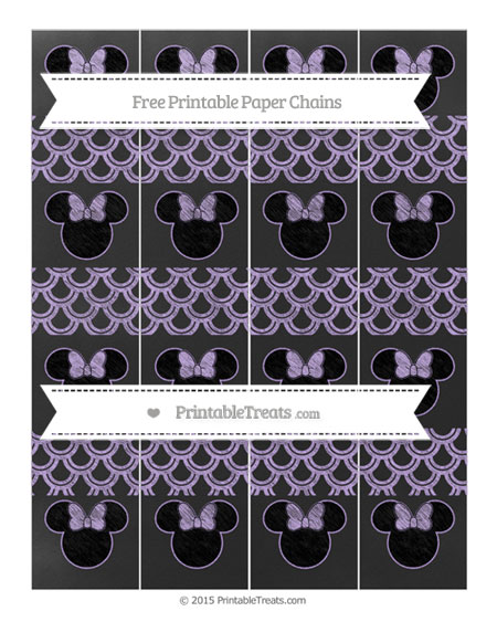 Free Pastel Purple Fish Scale Pattern Chalk Style Minnie Mouse Paper Chains