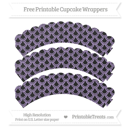 Free Pastel Purple Fish Scale Pattern Chalk Style Scalloped Cupcake Wrappers