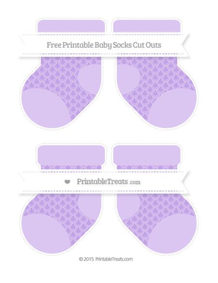 Free Pastel Purple Fish Scale Pattern Medium Baby Socks Cut Outs