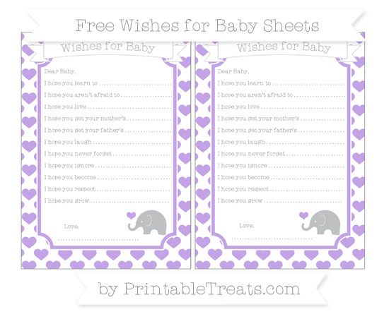Free Pastel Purple Heart Pattern Baby Elephant Wishes for Baby Sheets