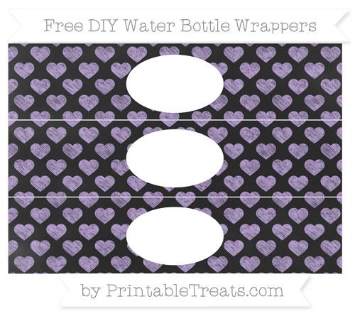 Free Pastel Purple Heart Pattern Chalk Style DIY Water Bottle Wrappers