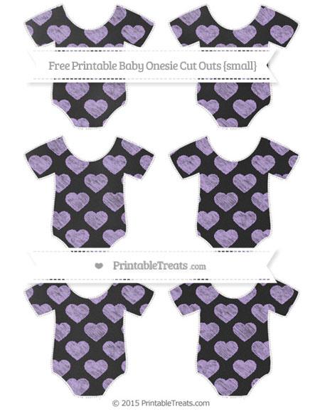 Free Pastel Purple Heart Pattern Chalk Style Small Baby Onesie Cut Outs