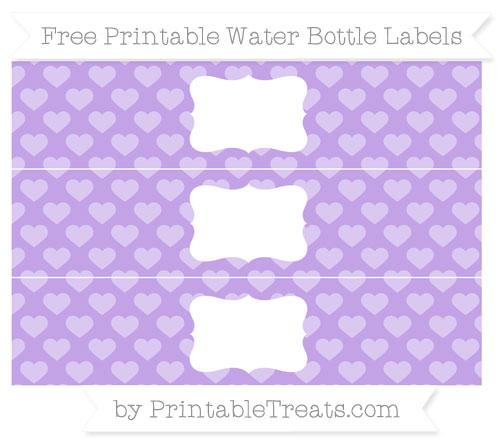 Free Pastel Purple Heart Pattern Water Bottle Labels