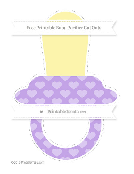 Free Pastel Purple Heart Pattern Extra Large Baby Pacifier Cut Outs
