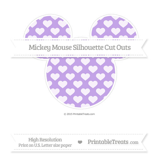 Free Pastel Purple Heart Pattern Extra Large Mickey Mouse Silhouette Cut Outs