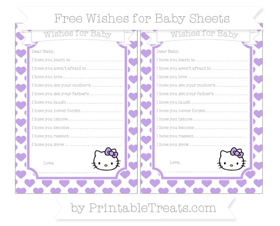 Free Pastel Purple Heart Pattern Hello Kitty Wishes for Baby Sheets