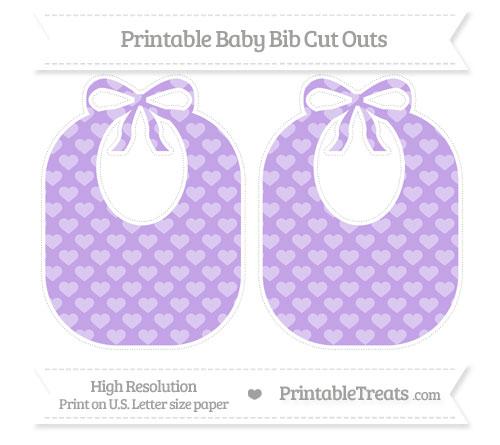 Free Pastel Purple Heart Pattern Large Baby Bib Cut Outs