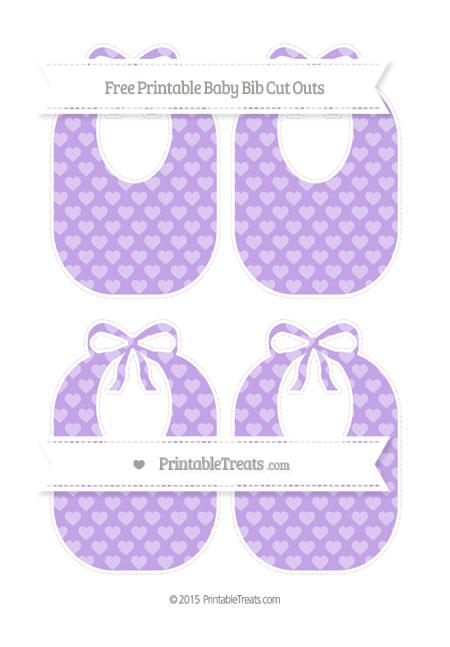 Free Pastel Purple Heart Pattern Medium Baby Bib Cut Outs