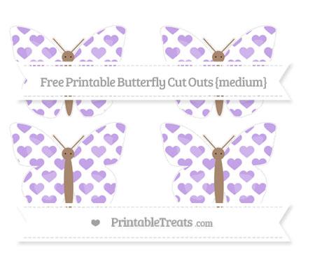 Free Pastel Purple Heart Pattern Medium Butterfly Cut Outs