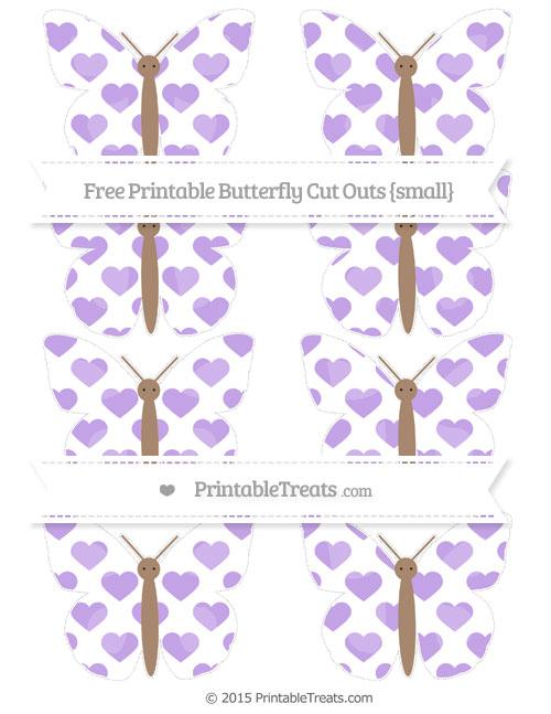 Free Pastel Purple Heart Pattern Small Butterfly Cut Outs