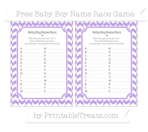 Free Pastel Purple Herringbone Pattern Baby Boy Name Race Game
