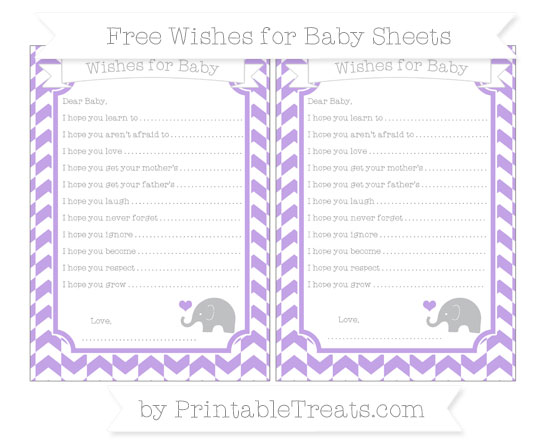 Free Pastel Purple Herringbone Pattern Baby Elephant Wishes for Baby Sheets