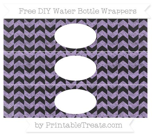 Free Pastel Purple Herringbone Pattern Chalk Style DIY Water Bottle Wrappers