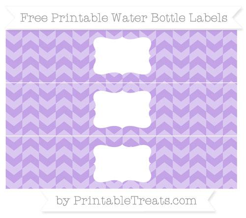 Free Pastel Purple Herringbone Pattern Water Bottle Labels