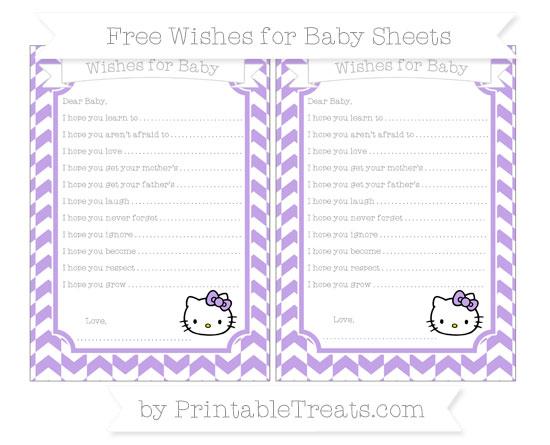 Free Pastel Purple Herringbone Pattern Hello Kitty Wishes for Baby Sheets